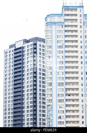 Blue high-rise building. Multi-storey new building - Stock Photo