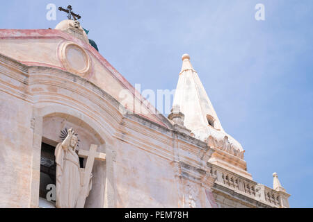Italy Sicily Monte Tauro famous luxury tourist resort Taormina detail Church Chiesa di San Giuseppe statue sculpture under renovation - Stock Photo