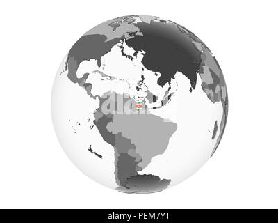 Suriname on gray political globe with embedded flag. 3D illustration isolated on white background. - Stock Photo