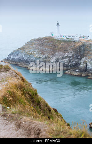 South Stack Lighthouse, Holyhead on Anglesey - Stock Photo