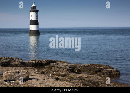 Penmon Lighthouse and Puffin Island, Anglesey - Stock Photo