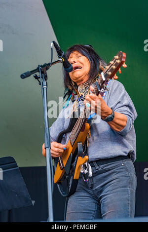 Buffy Sainte-Marie performs at Canmore Folk Music Festival, Canmore, Alberta, Canada. - Stock Photo