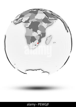 Swaziland on simple gray globe with shadow isolated on white background. 3D illustration. - Stock Photo
