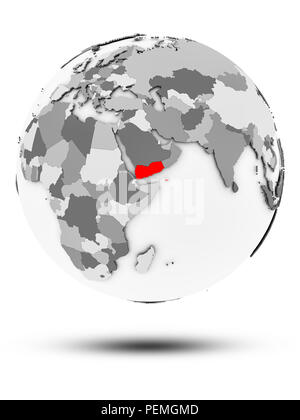 Yemen on simple gray globe with shadow isolated on white background. 3D illustration. - Stock Photo