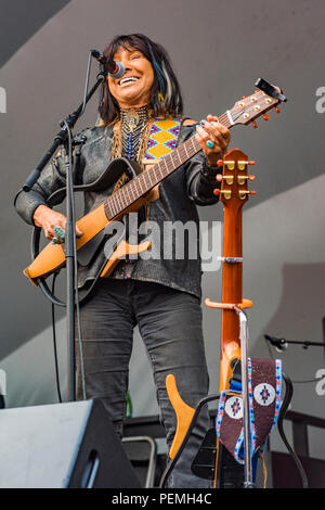 Singer songwriter Buffy Sainte-Marie  at Edmonton Folk Music Festival, Edmonton, Alberta, Canada. - Stock Photo
