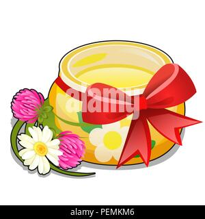 Glass transparent jar of honey tied with a red ribbon bow and meadow flowers clover and Daisy isolated on white background. Vector cartoon close-up illustration. - Stock Photo