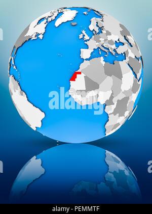Western Sahara on globe reflecting on surface. 3D illustration. - Stock Photo