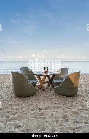 Beach Chairs in beach restaurant on summer island in Phuket, Thailand. Summer, Travel, Vacation and Holiday concept. - Stock Photo