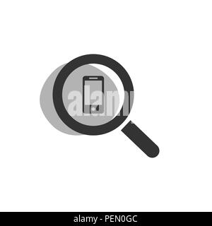 Magnifying glass looking for a smarthphone isolated web icon. Vector illustration - Stock Photo