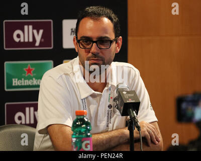 Eusebio Di Francesco head coach of Serie A club Roma during press conference after 2018 International Champions Cup game Roma vs Real Madrid - Stock Photo