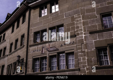 Landscape view of the facade of a traditional building in the Grand-Rue Street of Fribourg, in Switzerland - Stock Photo