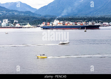 A busy Saturday afternoon in the harbour at Vancouver, British Columbia, Canada - Stock Photo