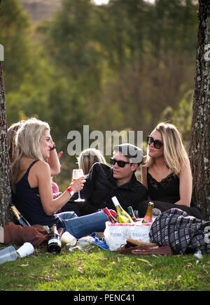 Johannesburg, South Africa - 10 May, 2014: People relaxing and eating in a park. - Stock Photo