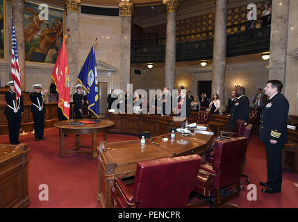 MADISON, Wis., (December 23, 2015) – University of Wisconsin Naval Reserve Officers Training Corps (NROTC) unit color guard present the colors in the Senate chamber of the Wisconsin State Capitol during a commissioning ceremony here, Dec. 23. (Official U. S. Navy photo Scott A. Thornbloom) - Stock Photo