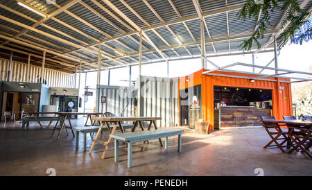 Johannesburg, South Africa, 5 May - 2018: Shops made from used shipping containers. Stock Photo