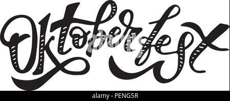 Oktoberfest lettering Calligraphy Brush Text Holiday Vector Sticker - Stock Photo