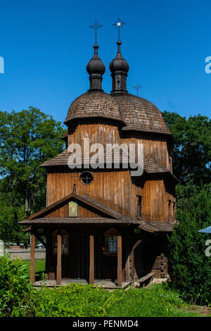 Old wooden orthodox church, Open Air Village Museum in Lublin, Poland - Stock Photo