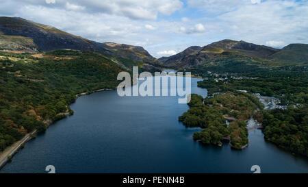Aerial shot of Llyn Padarn Lake in Snowdonia, Gwynedd, North Wales - Stock Photo