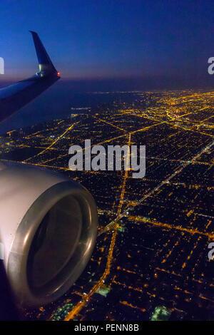 Chicago aerial view at dawn, Illinois, USA, North America - Stock Photo
