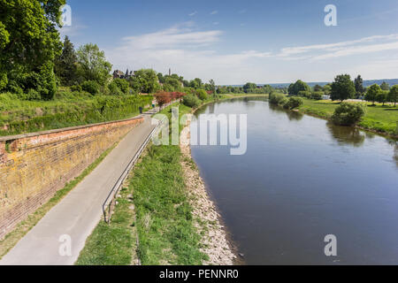 Road along the Weser river near Hoxter, Germany - Stock Photo
