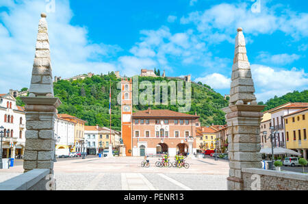 Marostica, Italy - May 26, 2017: The square where the traditional chess game is played, with the Doglione palace in the background