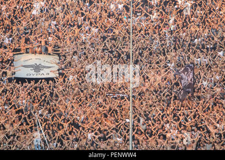 Thessaloniki, Greece - August 8, 2018: View of the full stadium behind fans during the UEFA Champions League Third qualifying round , between PAOK vs  - Stock Photo