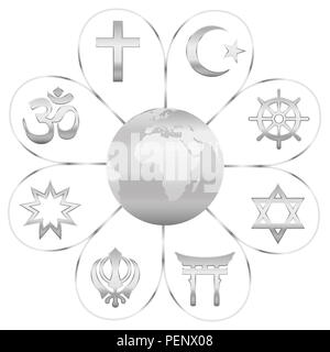 World religions united on a silver flower with planet earth in center. Signs of major religious groups and religions. - Stock Photo