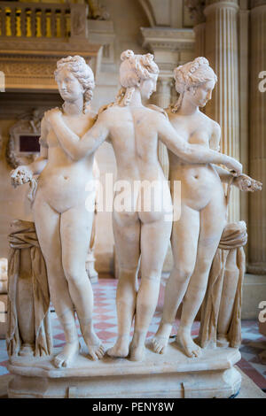 'Les Trois Grâces,' The Three Graces on display in the Sully section of Musee du Louvre, Paris, France - Stock Photo