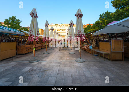Zadar - July 3 2018: Early morning on the market where local producers and merchants prepare their sale stand and offering fresh local grown fruits an - Stock Photo