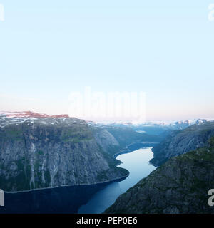 Breathtaking view on Ringedalsvatnet from Trolltunga rock - Stock Photo