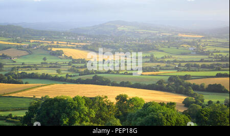 Panoramic view of Axe Valley in East Devon AONB (Area of Outstanding Natural Beauty) - Stock Photo