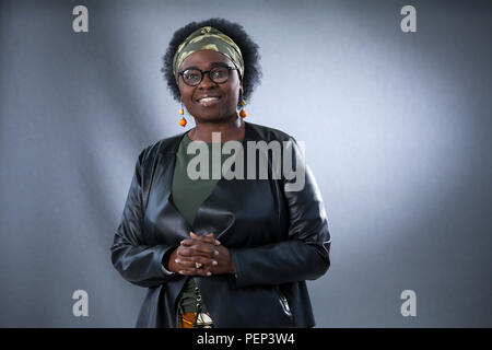 Edinburgh, UK. 16th August, 2018. Jennifer Nansubuga Makumbi is a Ugandan novelist and short story writer. Her doctoral novel, The Kintu Saga, was shortlisted and won the Kwani? Manuscript Project in 2013. Pictured at the Edinburgh International Book Festival. Edinburgh, Scotland.  Picture by Gary Doak / Alamy Live News - Stock Photo