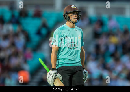 London, UK. 15 August, 2018. Will Jacks batting for Surrey against Hampshire in the Vitality T20 Blast match at the Kia Oval. David Rowe/Alamy Live News - Stock Photo