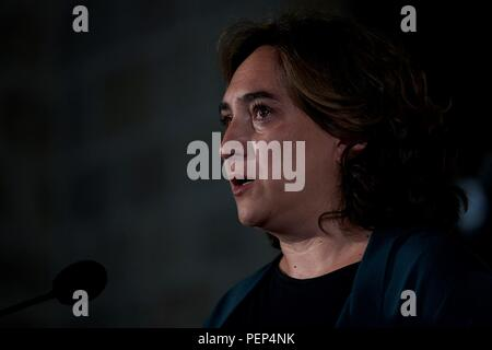 Barcelona, Spain. 16th Aug, 2018. Mayoress of Barcelona, Ada Colau, reacts as she delivers a speech during an act held in Barcelona, Catalonia, north eastern Spain, 16 August 2018, a day before the first anniversary of the Barcelona and Cambrils terrorist attacks on 17 August 2017, where 14 people died and over a hundred were wounded when two vehicles crashed into pedestrians in Las Ramblas, downtown Barcelona and on a promenade in Cambrils. Credit: Alejandro Garcia/EFE/Alamy Live News - Stock Photo