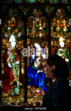 Barcelona, Spain. 16th Aug, 2018. Mayoress of Barcelona, Ada Colau, delivers a speech during an act held in Barcelona, Catalonia, north eastern Spain, 16 August 2018, a day before the first anniversary of the Barcelona and Cambrils terrorist attacks on 17 August 2017, where 14 people died and over a hundred were wounded when two vehicles crashed into pedestrians in Las Ramblas, downtown Barcelona and on a promenade in Cambrils. Credit: Alejandro Garcia/EFE/Alamy Live News - Stock Photo