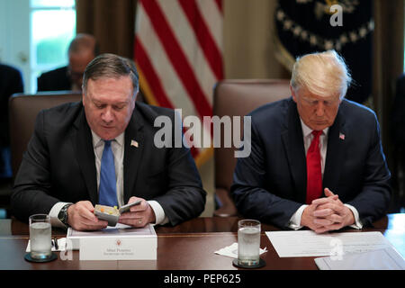 Washington, USA. 16th Aug, 2018. United States Secretary of State Mike Pompeo, left, reads a prayer as he sits next to US President Donald J. Trump during a Cabinet Meeting in the Cabinet Room of the White House on August 16, 2018 in Washington, USA. Credit: Oliver Contreras/Pool via CNP | usage worldwide Credit: dpa/Alamy Live News - Stock Photo