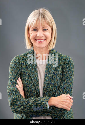 Edinburgh, Scotland, UK; 17 August, 2018. Pictured; Author Kate Mosse. Her book 'The Burning Chambers' is the first volume of an epic new series. Ranging across 300 years, from the 16th century to 19th century Southern Africa it contains hidden secrets, dangerous missions, love, betrayal and battle lines drawn in blood. Credit: Iain Masterton/Alamy Live News - Stock Photo