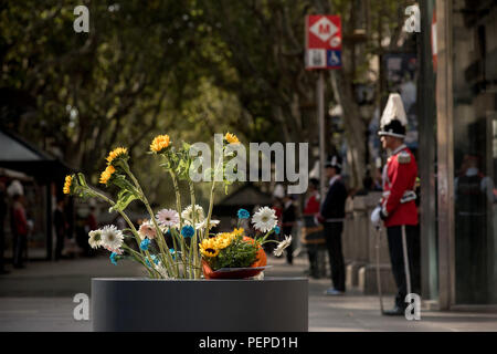 Barcelona, Spain. 17th Aug 2018. August 17, 2018 - Barcelona, Catalonia, Spain -  Tribute in Las Ramblas of Barcelona after one year of the  terror attacks  that  killed  16 people and injured more than 120  when two vehicles crashed into the crowds. Credit:  Jordi Boixareu/Alamy Live News - Stock Photo