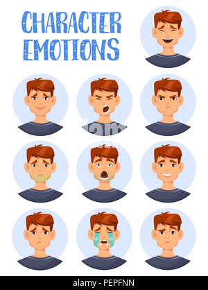 Cartoon man heads showing emotions. Boy character laughing and crying, smiling and angry, sick and confused, wondering. Guy face icons or adult facial - Stock Photo