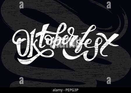 Oktoberfest lettering Calligraphy Brush Text Holiday Vector Chalkboard - Stock Photo