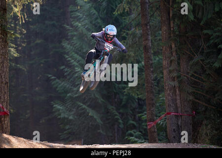Casey Brown (CAN) riding to third place in the 2018 pro women Crankworx Fox Air DH competition in Whistler, BC, Canada. August 15, 2018. - Stock Photo