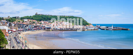 scarborough south bay beach and harbour seafront at scarborough england  yorkshire north yorkshire scarborough uk gb europe - Stock Photo
