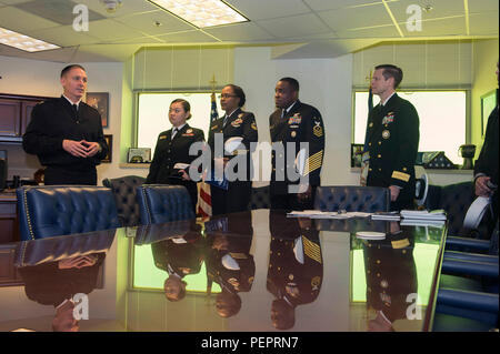 160128-N-LN619-044  WASHINGTON (Jan. 28, 2016) Master Chief Petty Officer of the Navy Mike Stevens meets with Navy Recruiting Command's (NRC) Recruiters of the Year (ROY) during a tour of the Pentagon. NRC recognized the top Navy recruiters of 2015 during ROY week held in Washington, D.C. (U.S. Navy photo by Mass Communication Specialist 3rd Class Preston Paglinawan/Released) - Stock Photo