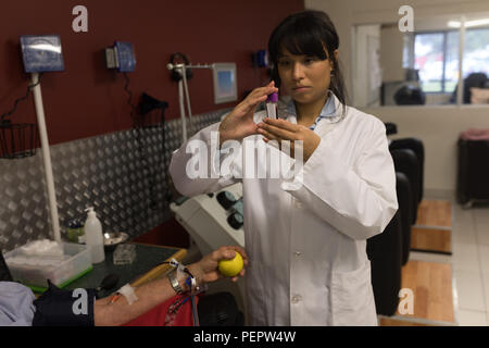 Physician checking blood sample - Stock Photo