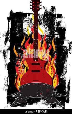 Flaming Guitar. A guitar in flames over a textured background. - Stock Photo
