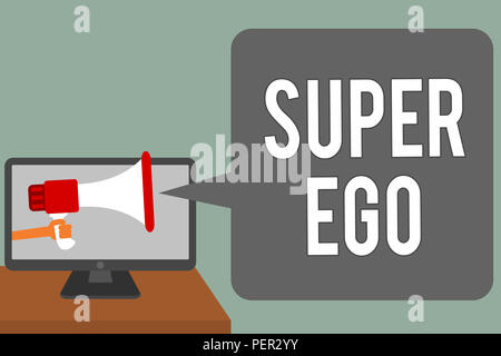 Writing note showing Super Ego. Business photo showcasing The I or self of any person that is empowering his whole soul Man hold Megaphone loudspeaker - Stock Photo
