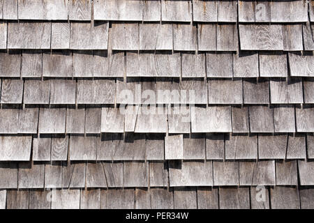 Wooden roof grey shingles textured background pattern. - Stock Photo