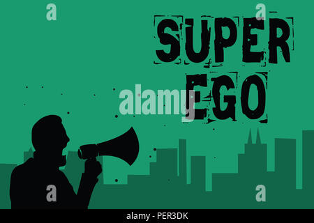 Word writing text Super Ego. Business concept for The I or self of any person that is empowering his whole soul Man holding megaphone speaking politic - Stock Photo