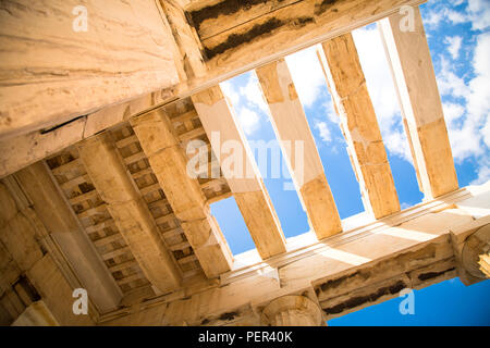 The ceiling of the Propylaea in the Acropolis Athens, Greece. Ancient Architecture against blue sky. - Stock Photo
