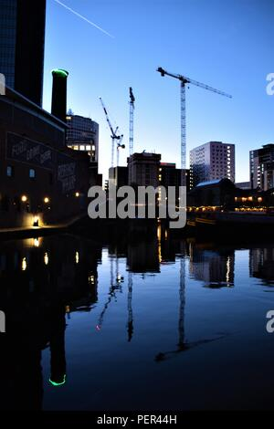 Birmingham England canals night photography - Stock Photo